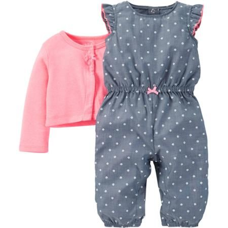 Child of Mine made by Carter's Newborn Baby Girl Romper and Sweater Outfit Set 2 Pieces