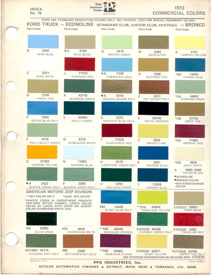 Paint Chips 1973 Ford Truck Fleet Commercial Econoline ...
