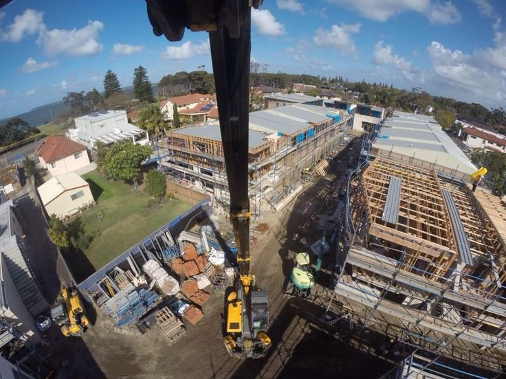 View of the jobsite from the extended Telehandler boom