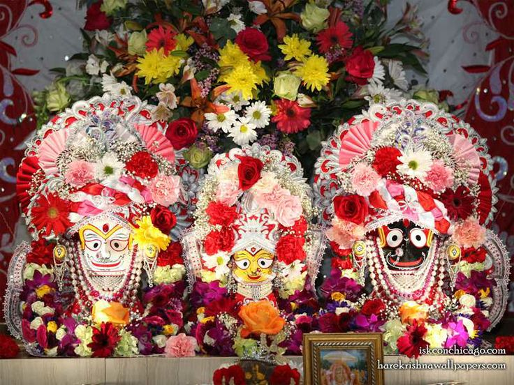 Jagannath Baladeva Subhadra Wallpaper   Click here for more sizes... http://harekrishnawallpapers.com/jagannath-baladeva-subhadra-iskcon-chicago-wallpaper-006/   TO SUBSCRIBE: http://harekrishnawallpapers.com/subscribe/