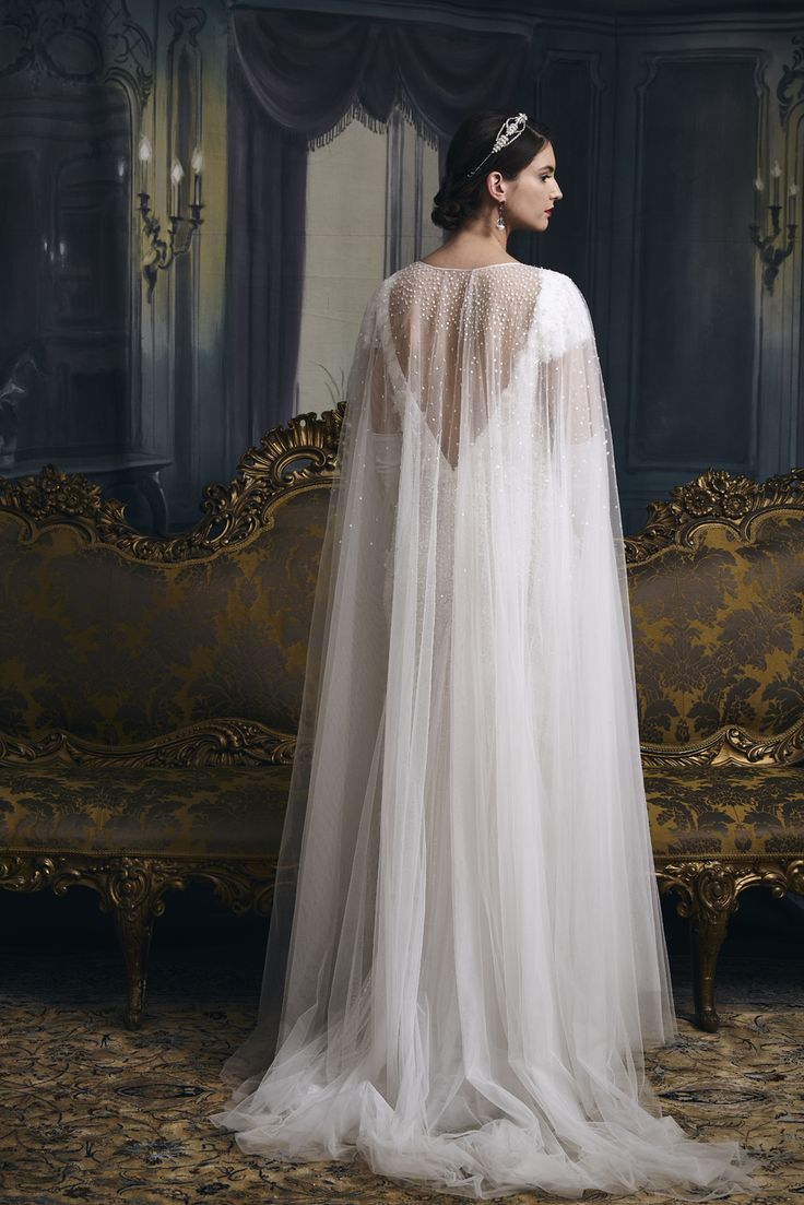 Simple Vintage inspired old school hollywood glamour beaded wedding dress Gatsby cape with detatchable skirt by Eliza Jane Howell Try it on at a pop up one week