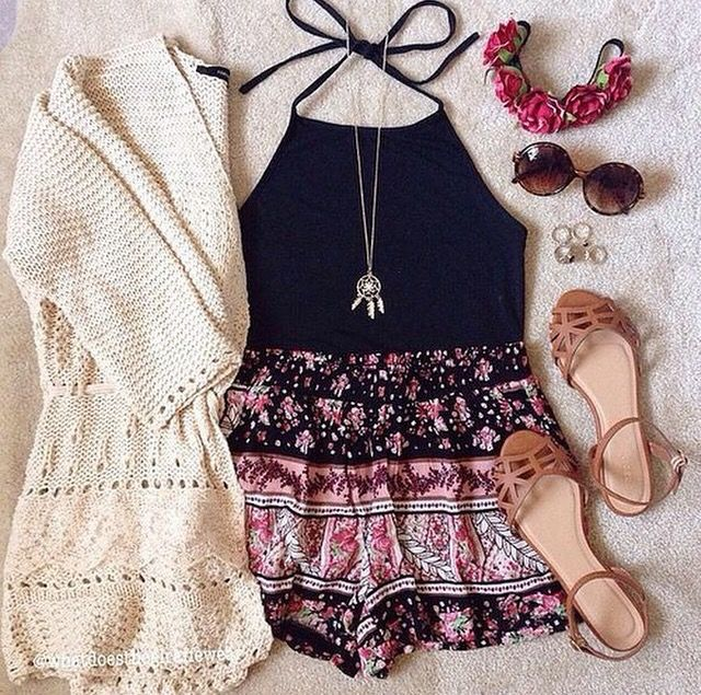 cardigan, sandals , and flower crown. #Cute outfit