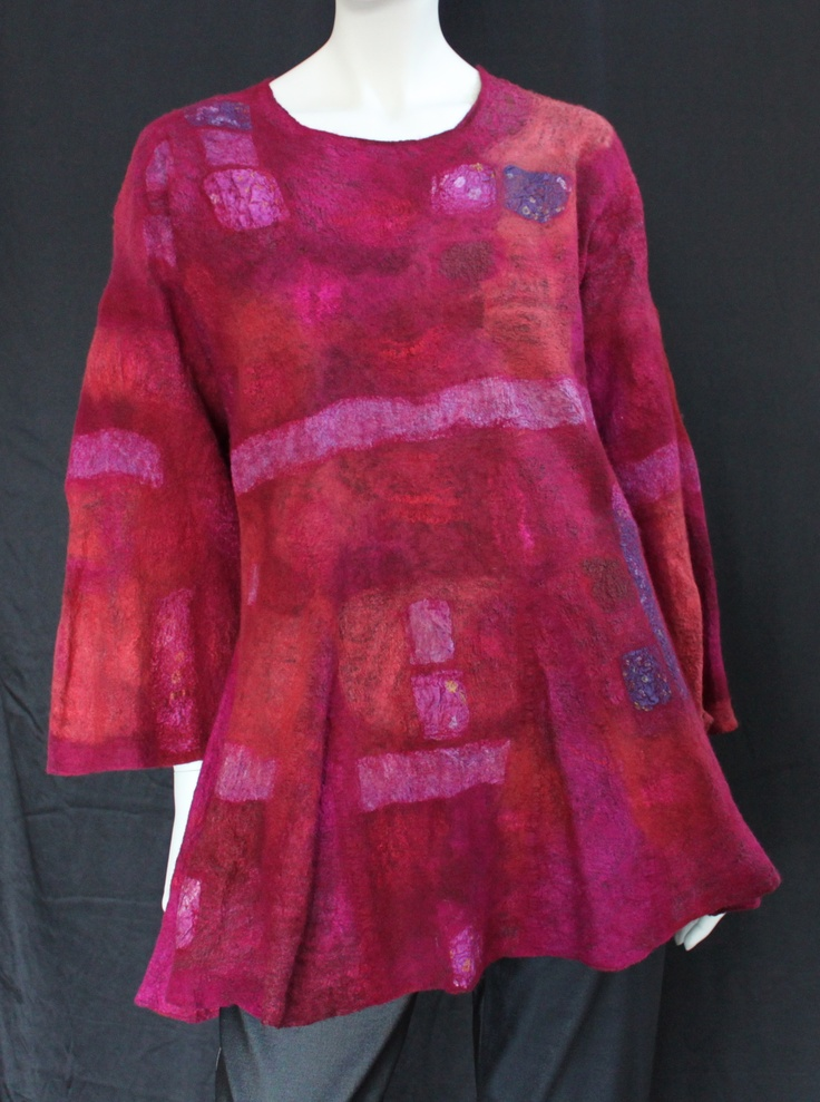 Swing Tunic, Nuno felt on silk chiffon, with silk sari mosaic bits from Joni Cornell. I love both the shape and the colour!!!