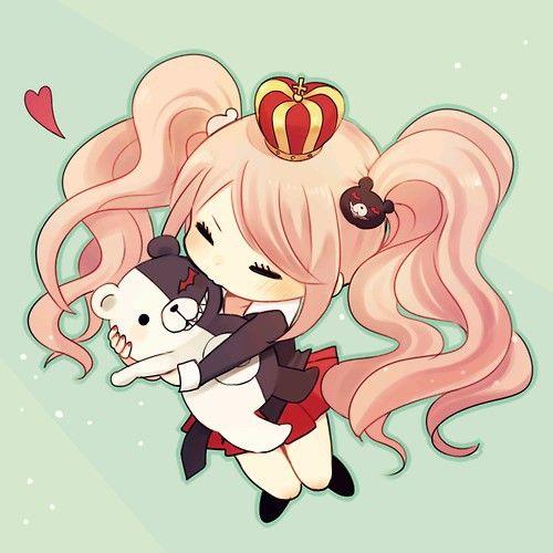 Junko Enoshima kawaii chibi hugging Monokuma