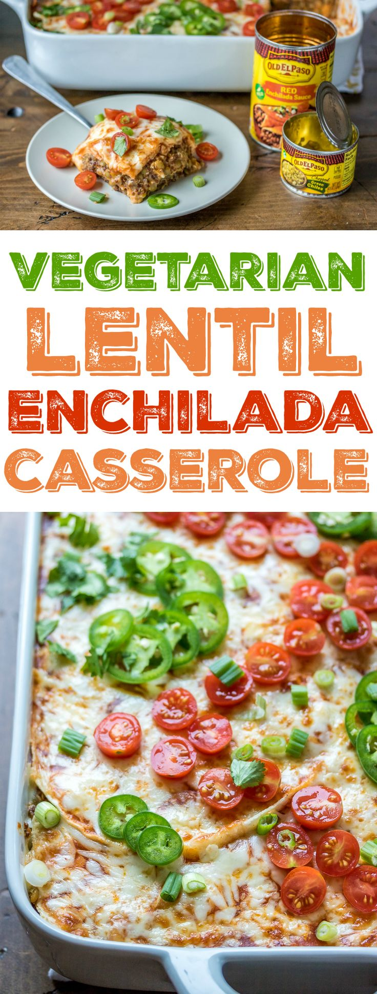 I'm usually too lazy to make *actual* enchiladas, which is why I love a good enchilada casserole. This version is made with lentils, quinoa, and mushrooms and topped with chilies, cheese, and enchilada sauce.