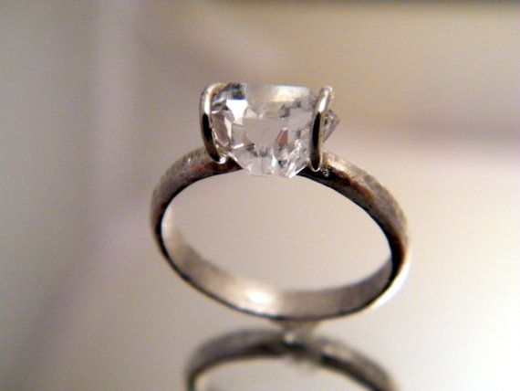 Herkimer Diamond Solitaire ring  simple by bezaleljewels on Etsy, $115.00: Simple Engagement, Cocktails Rings, Weddings, Diamonds Rings, Wedding Rings, Diamond Solitaire Rings, Herkim Diamonds, Diamonds Solitaire Rings, Engagement Rings