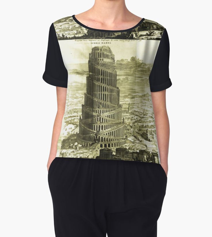 """Tower of Babel, KIRCHER'S Turris Babel (1679)"" Chiffon Tops by beyondartdesign 