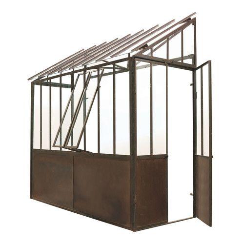 Invernadero de pared de metal con efecto oxidado Al. 245 cm