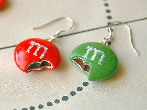 Red Green MMs Earrings Handmade Polymer Clay Jewelry by sillychic, Would make great stitch markers