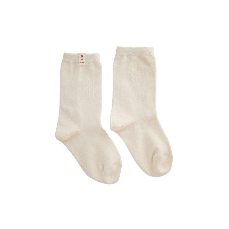 x 2 Cotton Socks - Cream and Grey