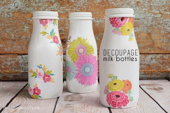 Decoupage Milk Bottles: A cute idea for all those Starbucks glasses I have stored!