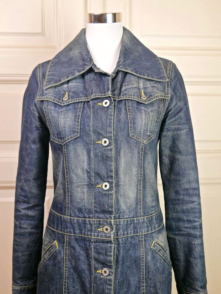American Vintage Jeans Coat Women's, Vintage Denim Coat, Hipster Jeans Coat, Boho Coat, Retro Denim Coat: Size 6 (US), Size 10 (UK) by YouLookAmazing on Etsy