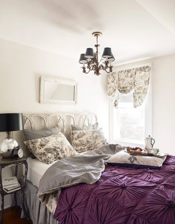 Vintage and cozy with just a touch of purple.