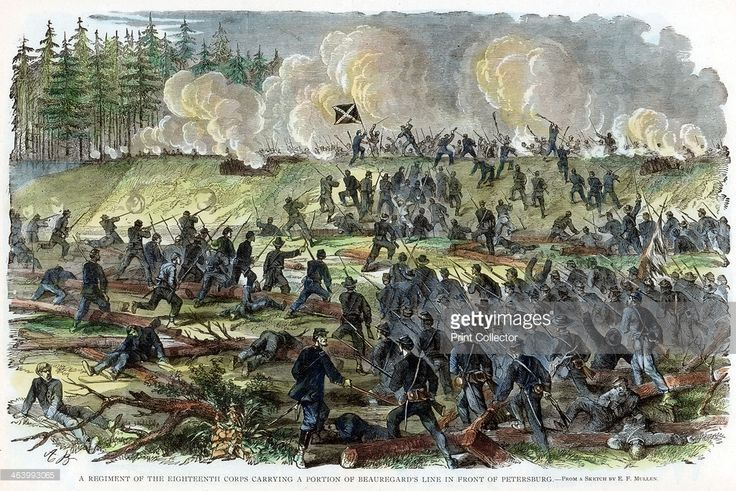 Siege of Petersburg, Virginia, American Civil War, c1864-c1865. A regiment of the Union 18th Corps carrying a portion of Confederate General PGT Beauregard's line in front of Petersburg. The Siege of Petersburg, which lasted from June 1864 until March 1865, foreshadowed the trench warfare battles of World War I.