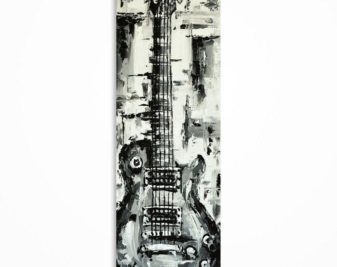 Guitarra, pintura, guitarra pared arte, música, regalo para un músico, arte de la guitarra, Original Les Paul guitarra arte sobre lienzo - hecho a pedido