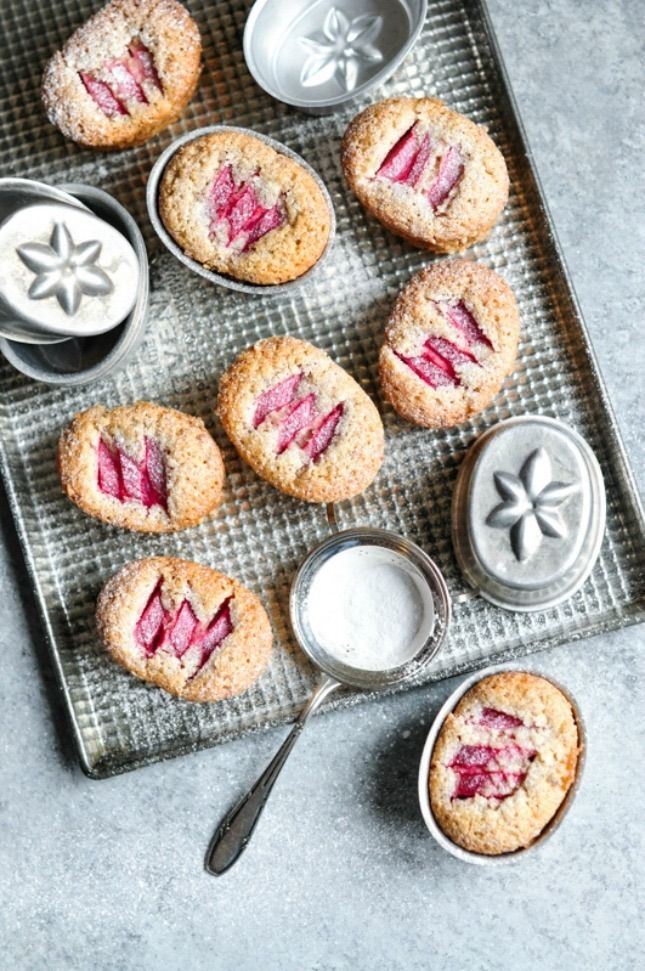 Save this spring dessert recipe to learn how to make a batch of Rhubarb and Vanilla Friands.