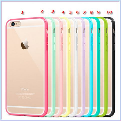 iPhone 6 Plus, 6 - Slim Clear Frosted With Pastel Frame Case in Assorted Colors Item 1395 - Specialty: Clearly frosted back case with cotton candy color frame, slim and neat Features: - Material: TPU+PC - Color: Transparent with assorted Color Frame - Designed as ULTRA thin cas