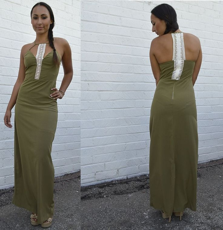 Prom or Spring break Halter Neck Maxi Dress it has a Solid Lace Cutout Pattern #