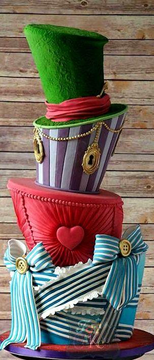 Wonderland Inspired Wonky Wedding Cake