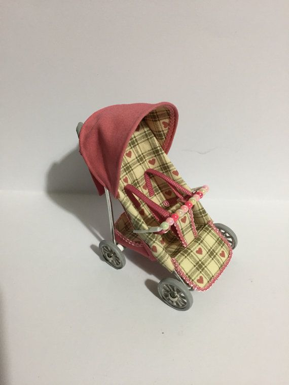 Dolls house 1/12th scale modern pushchair pink with by thimblemins