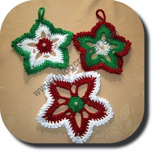 Materiales: Restos de hilo de algodón usado doble color blanco, rojo y verde, perlas, aguja crochet de aluminio N° 3 1/2. Puntos: ...