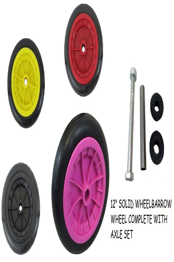 Details About 12 Solid Wheelbarrow Wheel Puncture Proof Replacement Solid Tyre Axle Wheelbarrow Wheels Wheelbarrow Axle