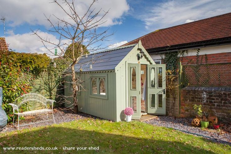 Posh Sewing Shed, Workshop/Studio shed from Under the cherry Tree | Readersheds.co.uk Oh My! Possibly better than a room, lovely.  I'd like one only a little bigger but then I'd also need a garden big enough for something larger than a sentry shed!