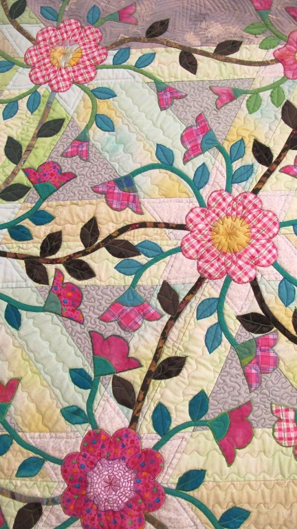 Close up of the needlework and quilting (Rambler Rose by Yoshiko Kobayashi) xo