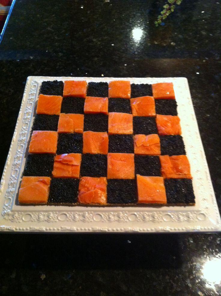 Salmon and caviar checkerboard