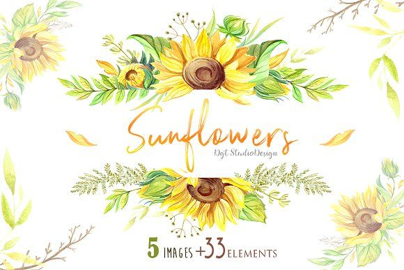 Watercolor Sunflowers Frame Clipart With Images Watercolor