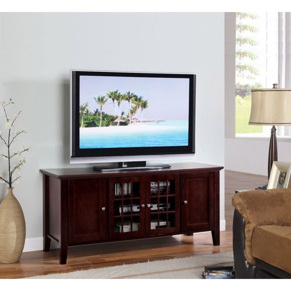 K&B Dark Cherry Finish Wooden TV Stand - Overstock Shopping - Great Deals on Entertainment Centers