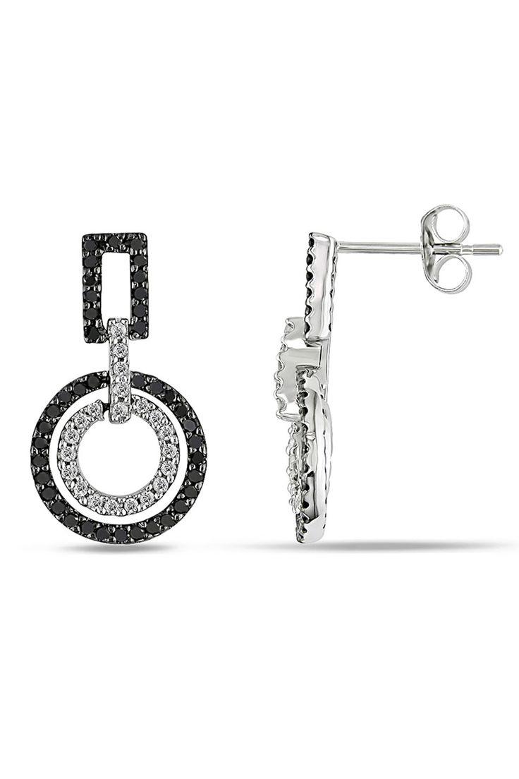 0.5Ct Black And White Diamond Earrings In 14k White Gold