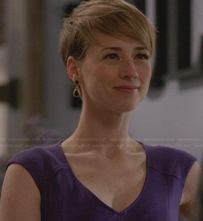 Margaux's purple v-neck dress on Revenge.  Outfit Details: http://wornontv.net/29225/ #Revenge