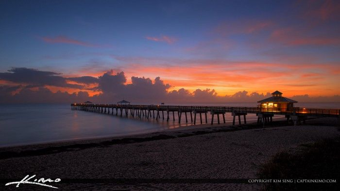 Some beauitful early morning colors at the Juno Beach Pier along a smooth ocean. HDR image created using EasyHDR and Topaz software.