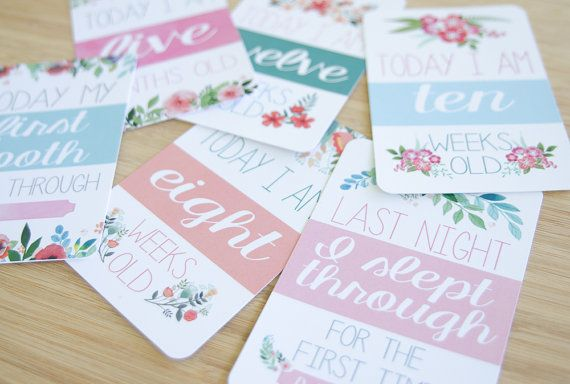 Moments and Milestone Cards Baby Girl by BlossomAndPear on Etsy