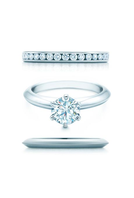 Trendy Tiffany Engagement Rings and Wedding Band Pairings