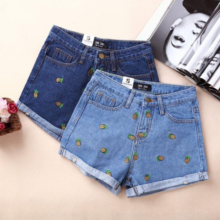 696 руб 2017 женщин новый летний моды ананас вышитые джинсы талии джинсовые шорты керлинг женщина купить на AliExpress