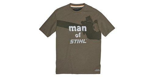 Camiseta 'man of STIHL'. Camiseta informal. Para fans de la marca STIHL. Color gris. Material: 100 % algodón. Estampado de motosierra y texto «man of». Logotipo STIHL en estampado normal.