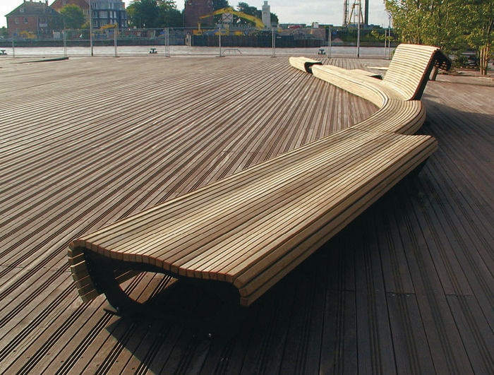 banc public design en bois et métal FLOW 053110 CITY DESIGN
