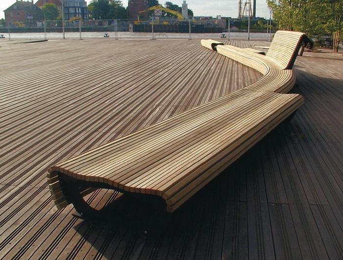 banc public design en bois et métal FLOW 053110 CITY DESIGN