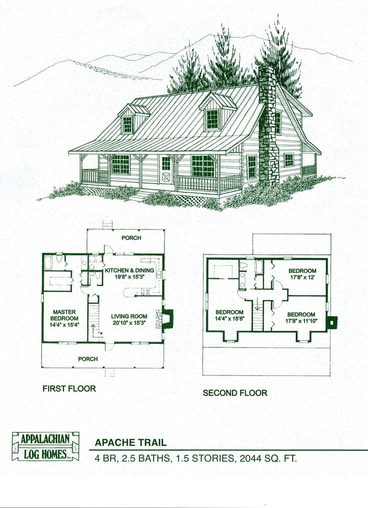 charming log cabin floor plans #9: Log Home Package Kits - Log Cabin Kits - Apache Trail Model