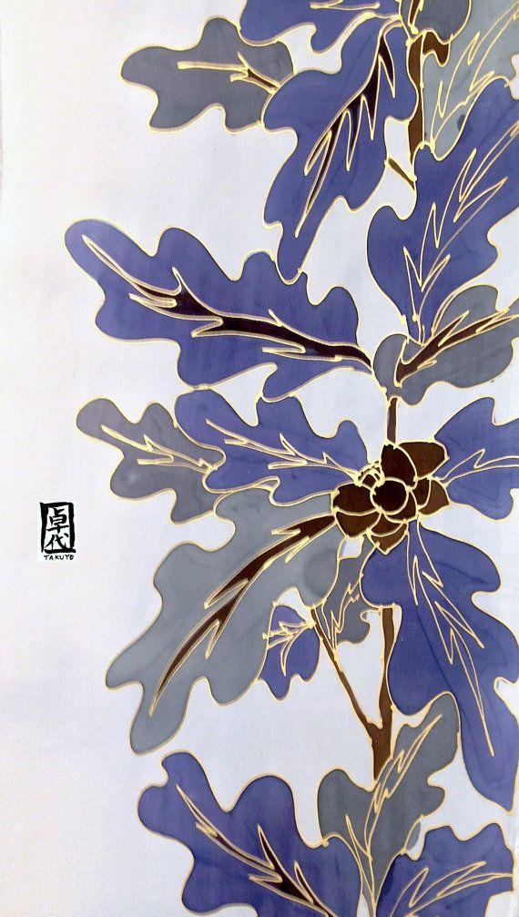 Silk Mens Scarf Hand Painted Gift Wrapped por SilkScarvesTakuyo