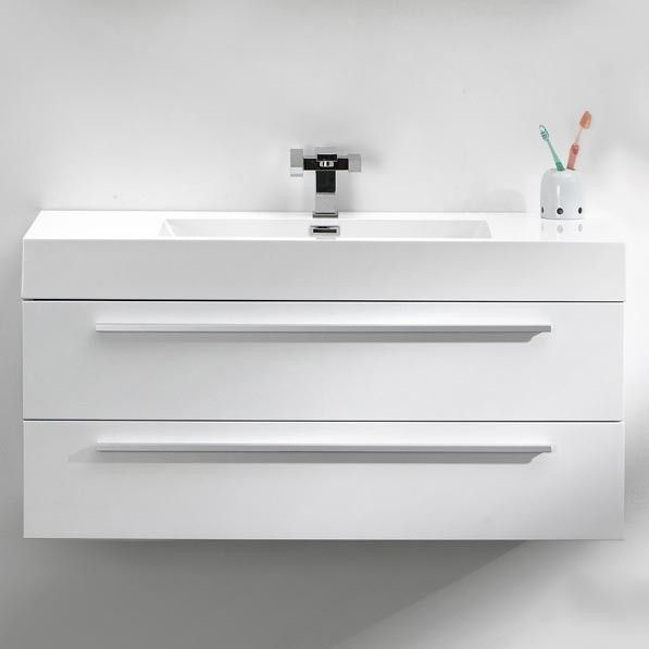 Beautiful Luce 1000 White Designer Wall Hung Vanity Unit