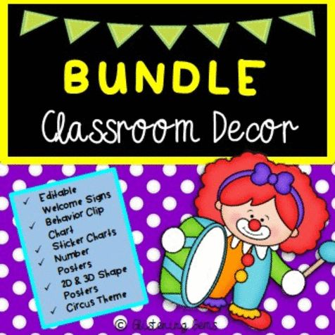 Circus Bundle - Classroom Decor - Back to School  This Circus Theme Bundle Pack is great value for money. Saving you over 25% off if you were to purchase each of the packs individually. This pack includes 4 products combined into one.  This product includes circus themed classroom decorations:  * Colored 2D and 3D Shape Posters  * Colored Number Posters with tens frames and clip art - 2 different versions available: red or yellow polka dot background. * Behavior Clip Chart and matching…