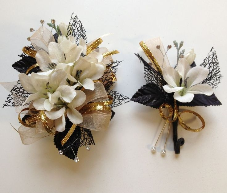 Black& Champagne Corsage & Boutonniere Set Wedding or Prom