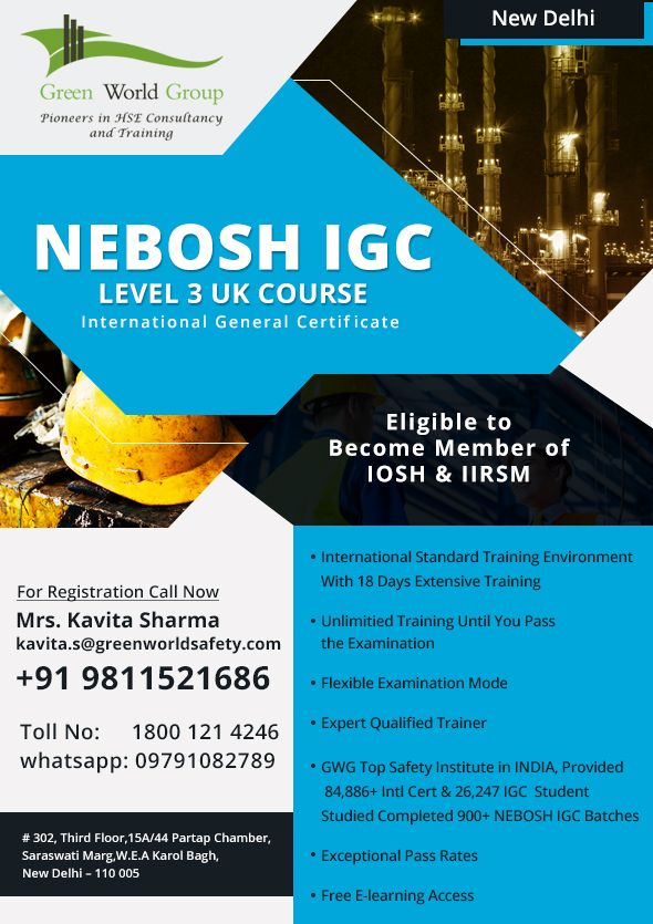 Register Nebosh Igc Course Training In New Delhi Safety Courses Occupational Health And Safety Safety Training