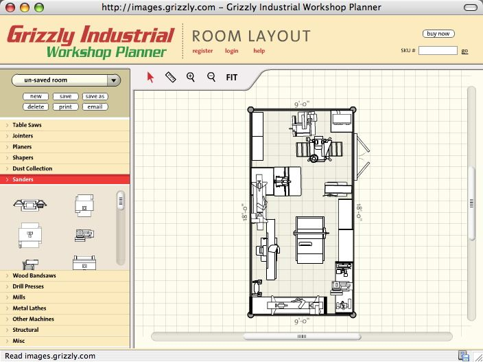 Small woodshop setup ideas workshop layout planning for Scale room planner