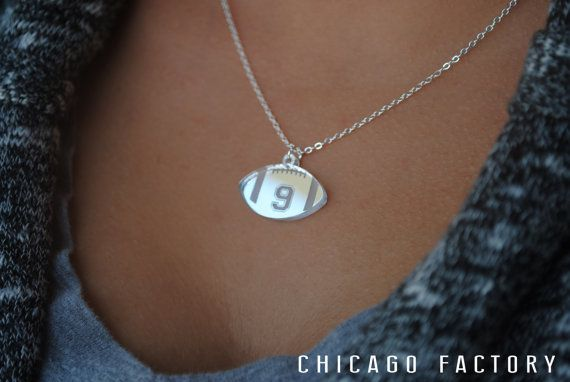 Custom Football Necklace with any number mirrored acrylic by Chicago Factory