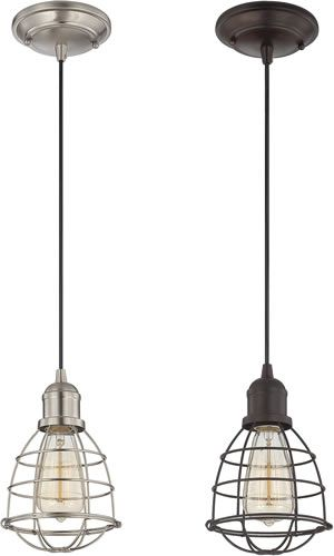 """Coastal, Nautical & Vintage Inspired Pendants Savoy House 7-4130-1-13 Vintage Pendant  7-4130-1-13Retail Price: $98.00  7-4130-1-SNRetail Price: $98.00  Vintage inspired pendants with metal shades and cages coordinate with your contemporary, urban, rustic or beach inspired home. Available in English Bronze and Satin Nickel. Height 59"""" x Width 5 1/2"""" Lamps: 1 x 100 watt UL, CUL Coastal Style Pendants - Call Brand Lighting Sales 800-585-1285 to ask for your best price!"""