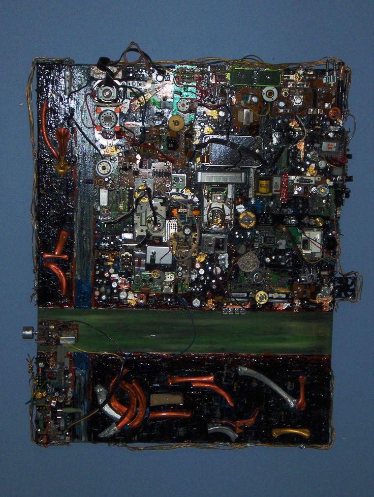 """Phylum 2009 - 2010 24"""" x 28"""" Acrylique, gouache, médium phosphorescent et composantes électroniques sur toile Acrylic, gouache, glow-in-the-dark medium and electronic components on canvas"""